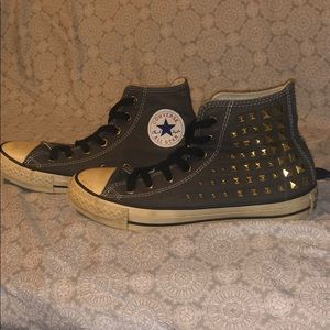 Converse Charcoal high Tops with Gold Stud Accents